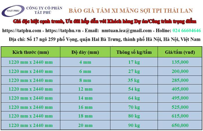 Giá tấm xi măng cemboard thái lan tại Tất phú là bao nhiêu?