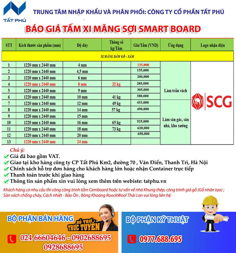 Báo giá tấm xi măng sợi SMART BOARD SCG Thái Lan Sỉ và Lẻ 2019