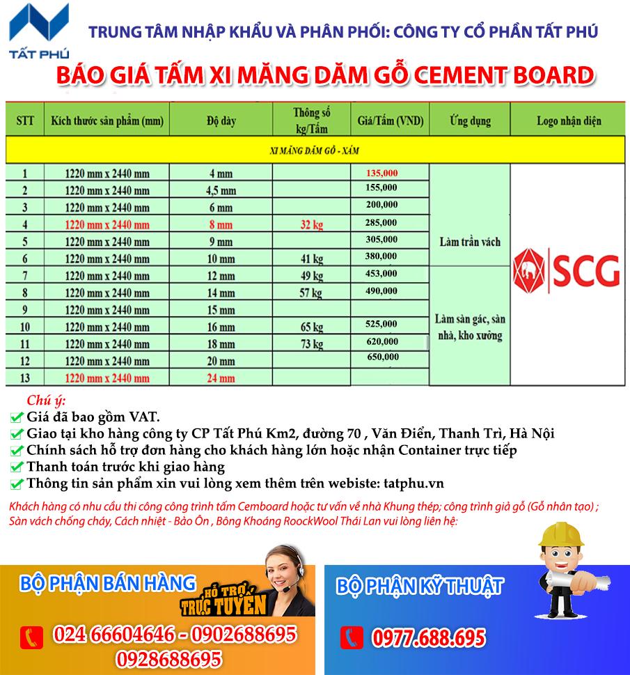 Báo giá tấm Cemboard dăm gỗ SCG Smile board Thái Lan