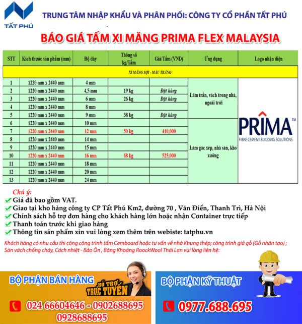 Bảng Giá tấm cemboard Primaflex Malaysia mới nhất