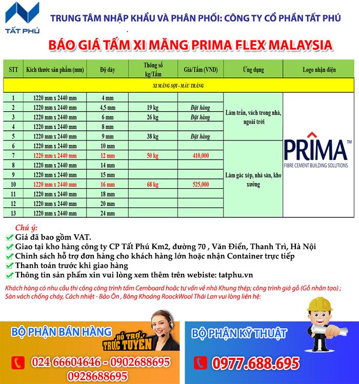 Báo giá tấm Cemboard PRIMAFLEX Malaysia mới nhất