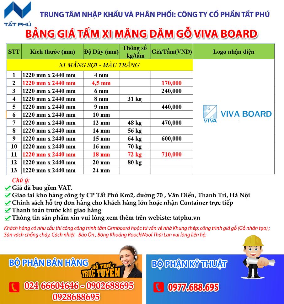 Báo giá tấm VIVA BOARD Thái Lan mới nhất