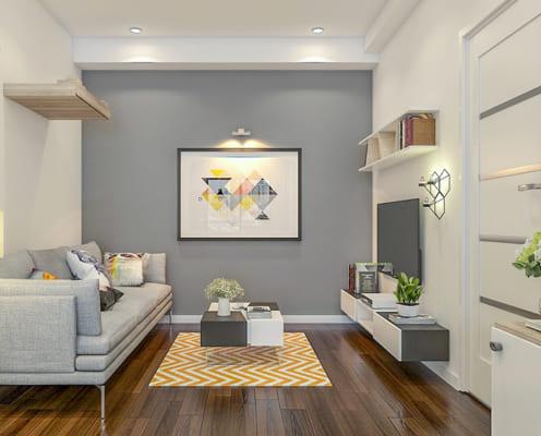 Sự đơn giản về mầu sắc, điểm nhấn trang trí là bức tranh to trên bức tường