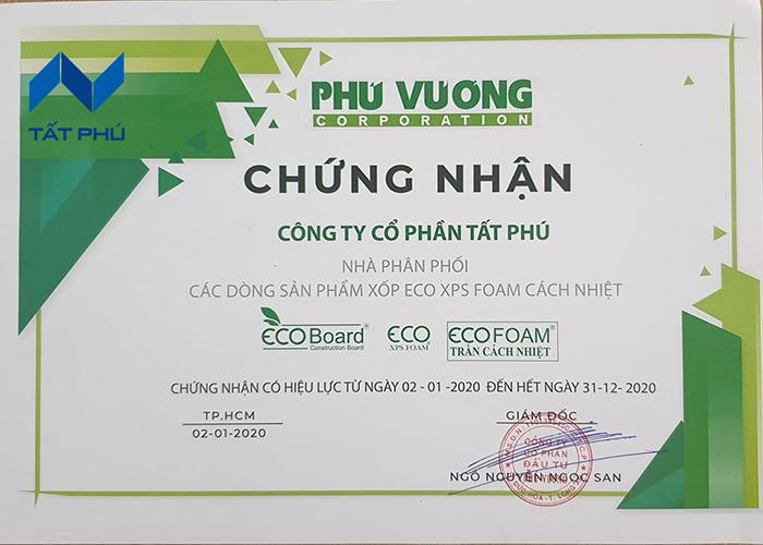 Giấy chứng nhận nhà phân phối chính hãng sản phẩm Eco XPS Foam và Drogon Rockwool