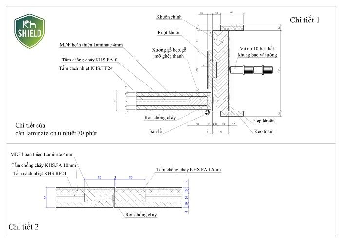 Tấm KH.Sheild ứng dụng làm cửa gỗ chống cháy