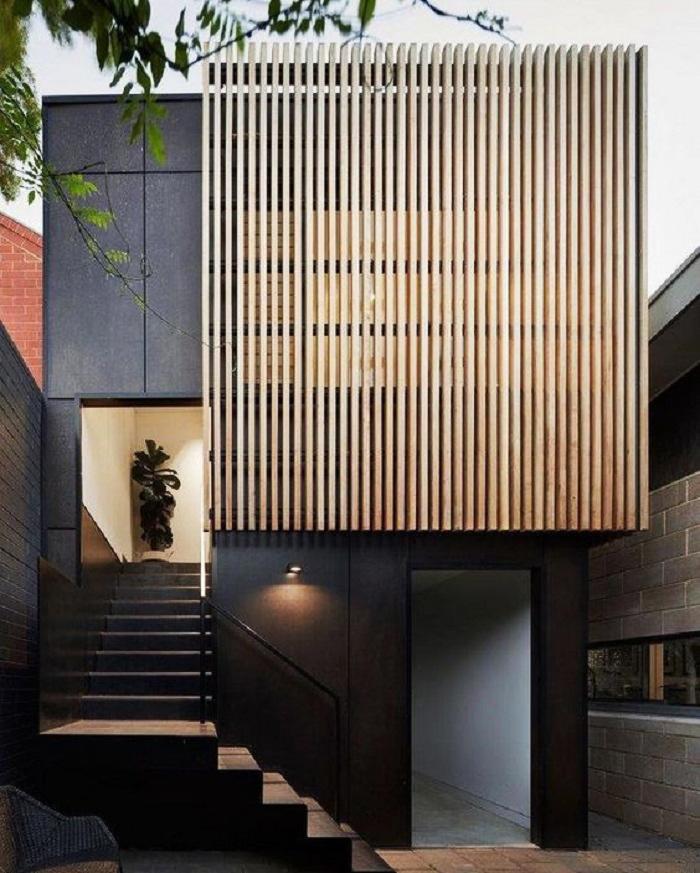 Mẫu 3: Thiết kế mặt tiền nhà phố 2 tầng hiện đại với tông màu trung tính.