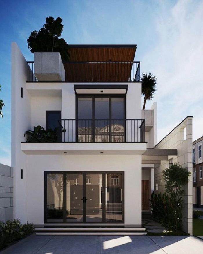 Mẫu 4: Thiết kế nhà phố 2 tầng đẹp theo phong cách hiện đại.