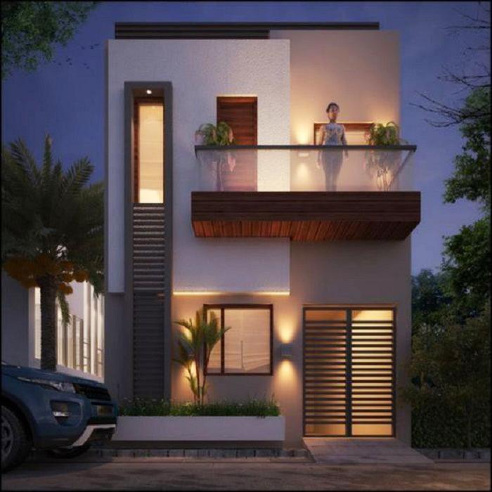 Mẫu 8: Kiểu thiết kế nhà phố 2 tầng với diện tích mặt tiền 8m.