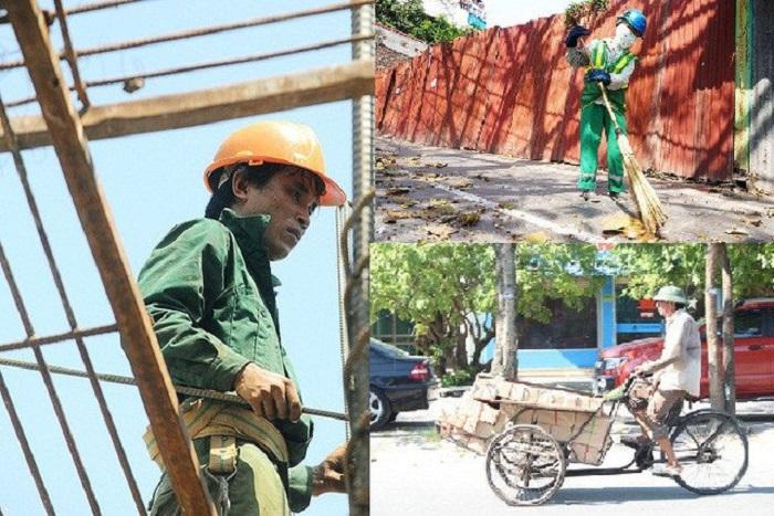 Dạo quanh người lao động làm việc dưới thời tiết nắng nóng ở Hà Nội.